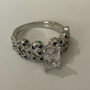 NWOT Cubic Zirconium & Sapphire Sterling Ring, 8